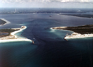 St. Andrews Bay (Florida) - Aerial view of St. Andrews Bay and the harbor entrance from the Gulf of Mexico. View is to the east-northeast.