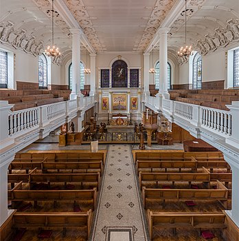 A view of the interior of St Botolph's Aldgate from the gallery