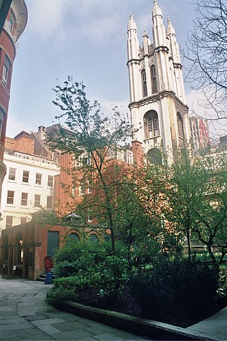 St Michael, Cornhill - View of church from St Michael's Alley