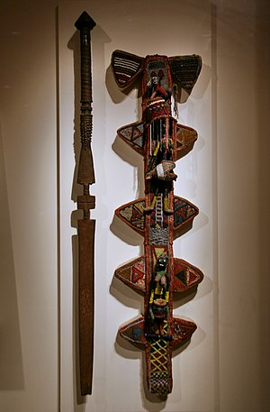 Staff and sheath for Orisha Oko, Yoruba peoples, Oyo region, Irawo village, Nigeria, Late 19th to early 20th century, Staff iron, wood (2923635450).jpg