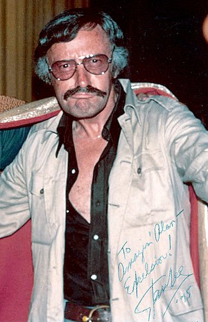 Stan Lee - Signed photo of Lee at the 1975 San Diego Comic-Con