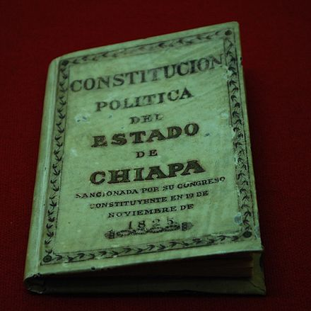 Copy of the 1825 state constitution StateConstitution1824Tuxtla.jpg