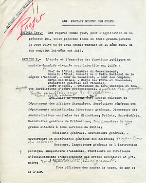 Vichy anti-Jewish legislation - Draft of the Statut des Juifs with annotations by Pétain himself