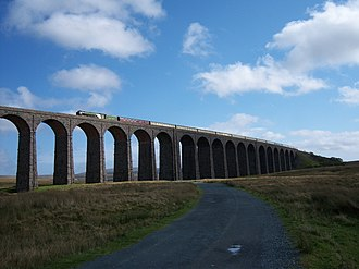 Settle–Carlisle line - Steam locomotive ''Tornado'' on the Ribblehead Viaduct