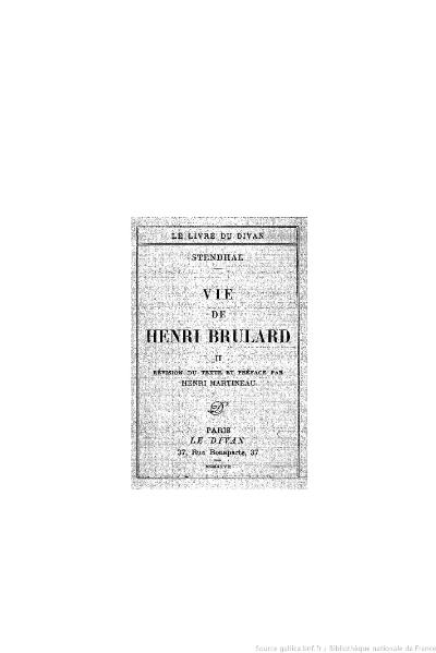 File:Stendhal - Vie de Henri Brulard, II, 1927, éd. Martineau.djvu