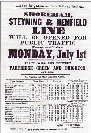 Steyning Line - Announcement of the line's opening