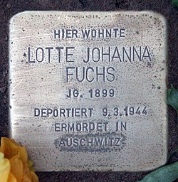 Photo of Lotte Johanna Fuchs brass plaque