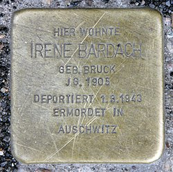 Photo of Irene Bardach brass plaque