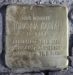 Photo of Johanna Fabian brass plaque