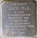 Stumbling block for Jakob Piehl (Schnurgasse 64)