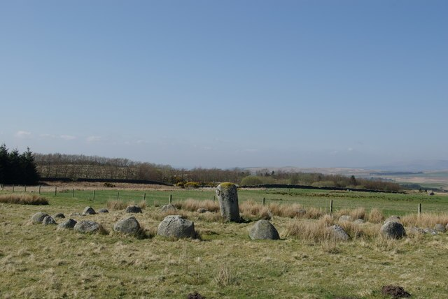 Stone Circle south of Old Military Road - geograph.org.uk - 1290115