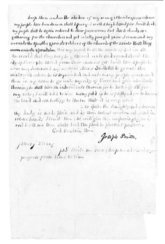 "James Strang -  Page three of Strang's ""Letter of Appointment,"" with signature of Joseph Smith."