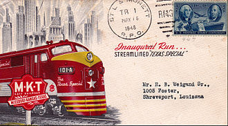 Texas Special - Postcard from the 1948 inaugural run of the streamlined Texas Special.