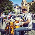 Street Music Day in Tbilisi. A drummer playing in Rustaveli Avenue. 2013.jpg