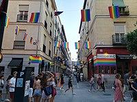 Street in Chueca neighbourhood (Madrid) during WorldPride 2017.jpg