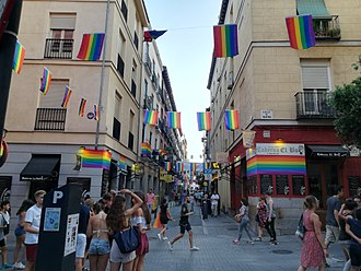 WorldPride - Street in Chueca neighbourhood, Madrid during WorldPride 2017