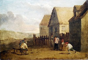 Bowling - Peasants bowling in front of a tavern in the 17th century