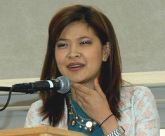 SuChin Pak - Pak speaking at an Asian Pacific American Heritage Month celebration, September 2005