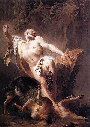 Milo of Croton - Milo of Croton by Joseph-Benoît Suvée   (18th century, oil on canvas)