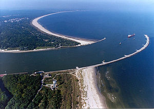 "Świnoujście - The river mouth of Świna at the Baltic Sea, separating the islands of Usedom (in the background) and Wolin (in the foreground).  The city's name translates as ""Swinamouth"" both in Polish and German, akin to Dartmouth or Plymouth in English"