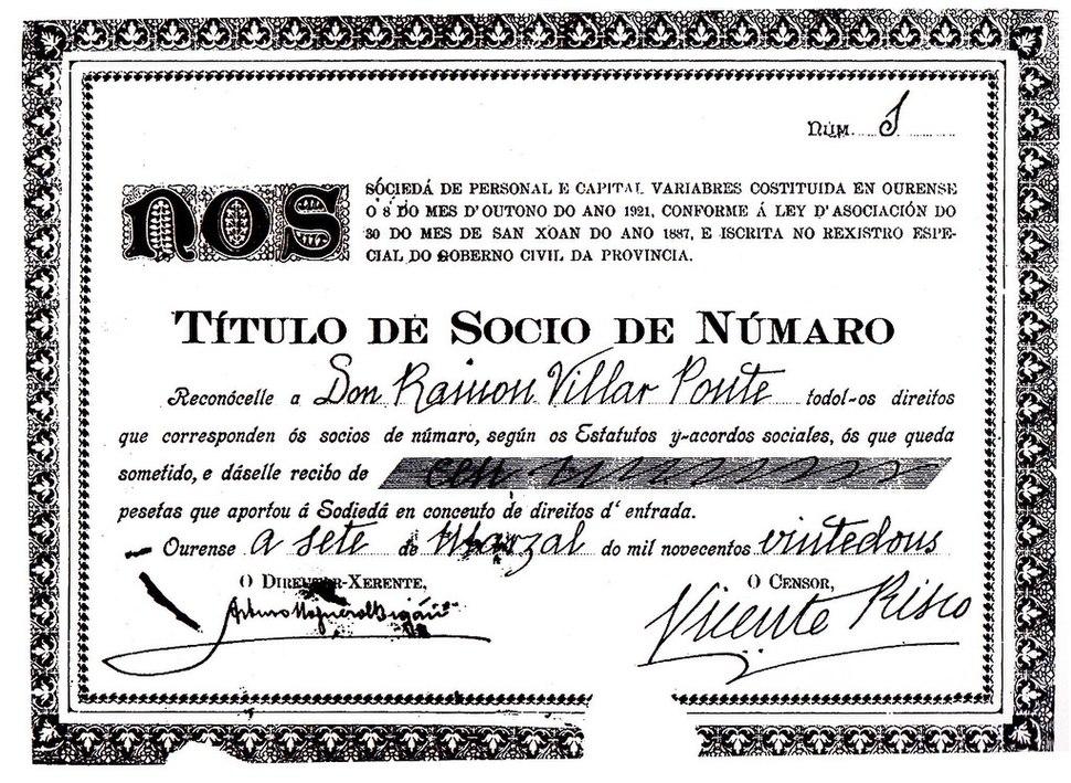 Título accionarial de Nós a nome de Ramón Villar Ponte