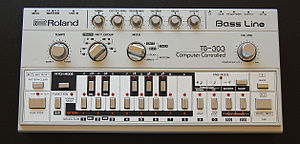 Rave music - The Roland TB-303 is a synthesizer featured in Acid house music