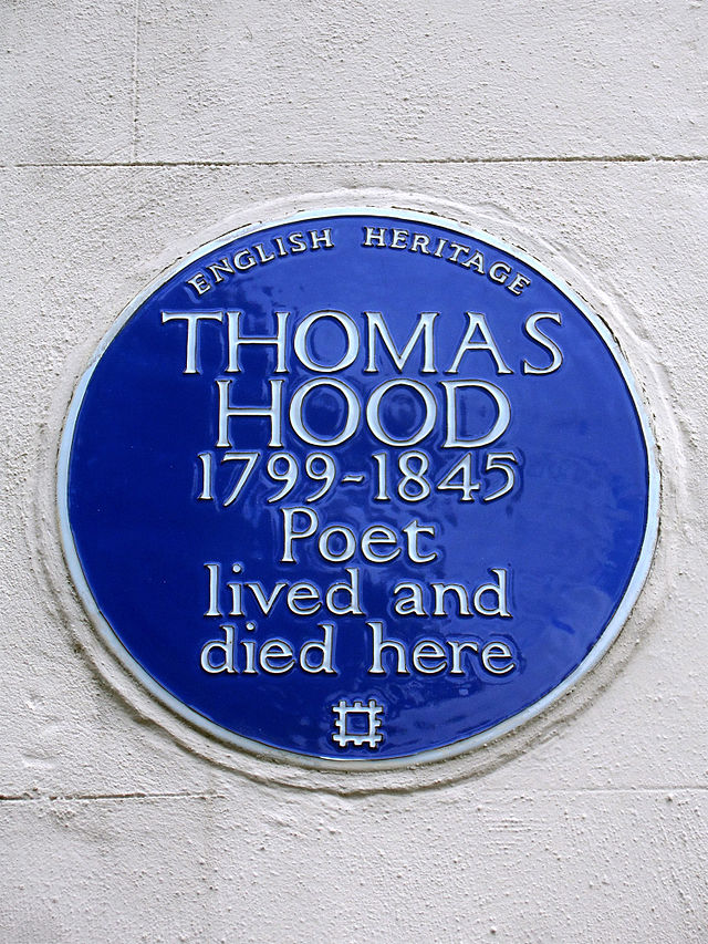 Thomas Hood blue plaque - Thomas Hood 1799-1845 poet lived and died here
