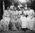 Tableau, women, fashion, summer dresses, skirt, blouse, bun, cloak, tie, flower, bracelet Fortepan 4451.jpg