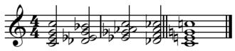 Turnaround (music) - Image: Tadd Dameron turnaround with resolution
