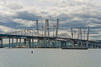 New Tappan Zee Bridge - Image: Tappan Zee bridges old and new Spring 2017