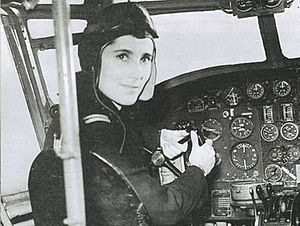 Barnato Walker at the controls of an Airspeed Oxford