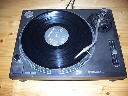 A phonograph turntable is prone to acoustic feedback. Technics SL-1210MK2.jpg
