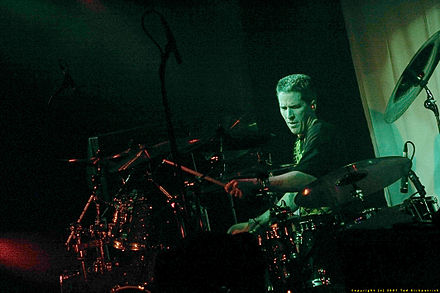 Drummer Ted Kirkpatrick of the American thrash metal band Tourniquet live in 2005. Ted Kirkpatrick of Tourniquet.jpg