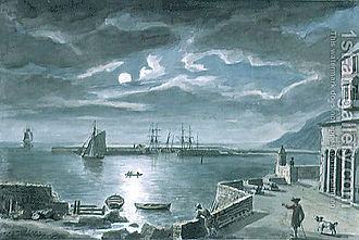 Coplestone Warre Bampfylde - The Harbour And The Cobb, Lyme Regis, Dorset, By Moonlight by Bampfylde