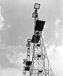 The 360ft transmitter towers at Bawdsey Chain Home radar station, Suffolk, May 1945. CH15337.jpg