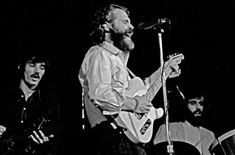 Richard Manuel - Manuel, right, playing drums with the Band, Hamburg, 1971