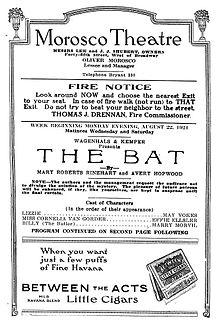 <i>The Bat</i> (play) 1920 mystery play