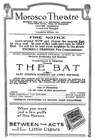 Mary Roberts Rinehart - Poster advertising the 1920 play The Bat