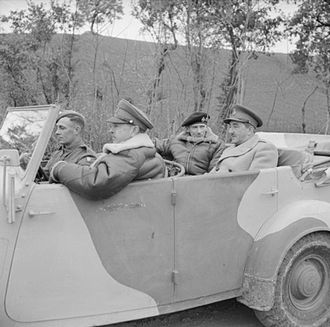 Alan Brooke, 1st Viscount Alanbrooke - General Sir Bernard Montgomery in his staff car with General Sir Harold Alexander and General Sir Alan Brooke, during an inspection of the 8th Indian Division HQ, Italy, 15 December 1943.