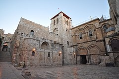 Photograph of The Church of the Holy Sepulchre in Jerusalem contains, according to traditions dating back to at least the fourth century, the two holiest sites in Christianity.