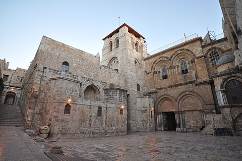 The Church of the Holy Sepulchre in Jerusalem contains, according to traditions dating back to at least the fourth century, the two holiest sites in Christianity. The Church of the Holy Sepulchre-Jerusalem.JPG