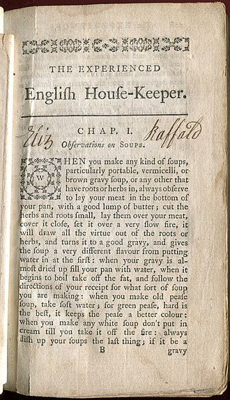 The Experienced English Housekeeper - Elizabeth Raffald's signature in brownish-black ink on the first page of the main text. Only signed copies were to be taken as genuine, according to the title page.