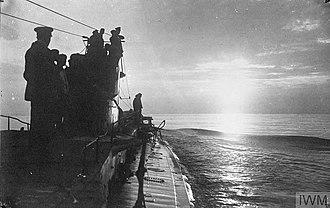 SM U-35 (Germany) - Image: The German U boat U 35 cruising in the Mediterranean, April 1917