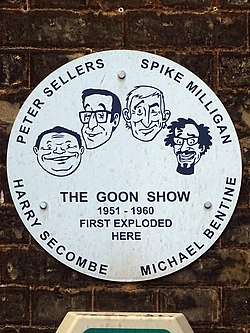 Photo of Peter Sellers, Spike Milligan, Harry Secombe, and Michael Bentine brushed metal plaque
