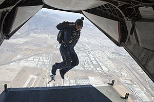 Action camera - Navy parachute demonstration team member wearing a helmet cam on a jump