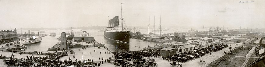 The RMS Lusitania arriving in New York in 1907.