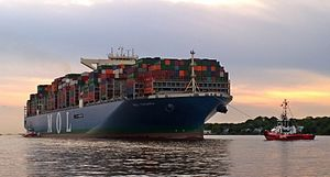 The MOL Triumph bound for Hamburg on the river Elbe.jpg