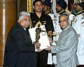 The President, Shri Pranab Mukherjee presenting the Dronacharya Award for the year-2015 to Shri Nihar Ameen for swimming, in a glittering ceremony, at Rashtrapati Bhavan, in New Delhi on August 29, 2015.jpg
