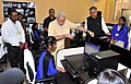 The Prime Minister, Shri Narendra Modi interacting with the students, at Livelihood College, in Dantewada, Chhattisgarh on May 09, 2015. The Chief Minister of Chhattisgarh, Dr. Raman Singh is also seen.jpg