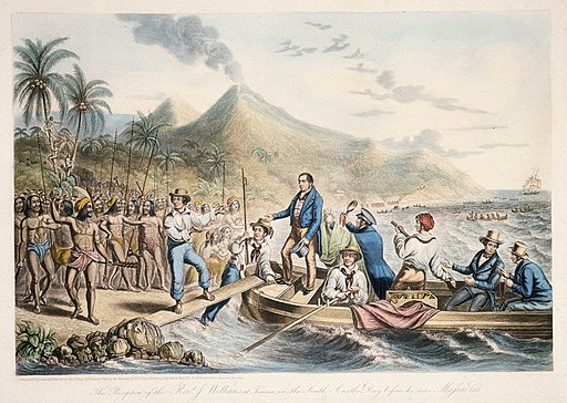 The Reception of the Rev. J. Williams, at Tanna, in the South Seas, the Day Before He Was Massacred, 1841 (B-088-015)